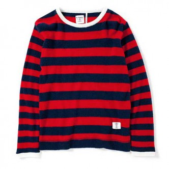 BEDWIN-C-NECK-BORDER-KNIT-DANNY-NAVY