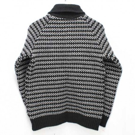 BEDWIN-SHAWL-COLLAR-COWICHAN-SWEATER-JACO-BLACK-BACK