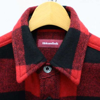 HIDE-and-SEEK-Check-CPO-Shirt-RED-COLLAR