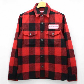 HIDE-and-SEEK-Check-CPO-Shirt-RED-FRONT