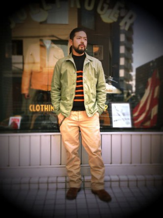 RATS-RAT-BOADER-KNIT-BLACK-ORANGE-BORDER-COORDINATE-CHINO-PANTS