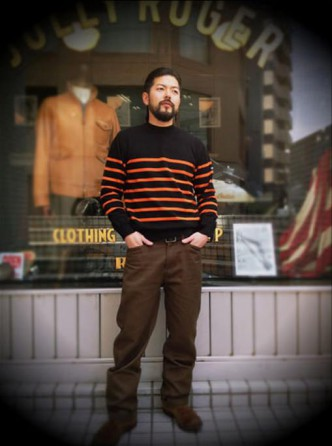 RATS-RAT-BOADER-KNIT-BLACK-ORANGE-BORDER-COORDINATE-FRISCO-PANTS