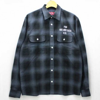 HIDE-and-SEEK-Check-LS-Shirt-14ws-BLACK