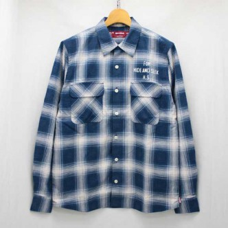 HIDE-and-SEEK-Check-LS-Shirt-13aw-BLUE