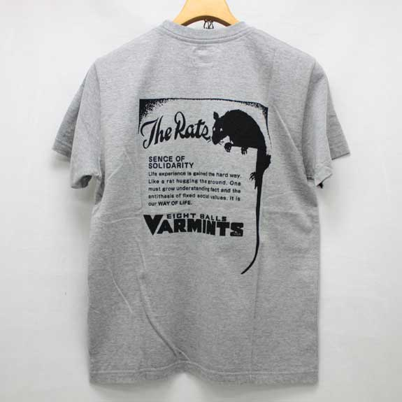 RATS VARMINTS POCKET T-SHIRTS:TOP GREY