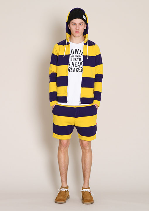 BEDWIN L/S OG BORDER ZIP UP HOODED SWEAT ANTHONY