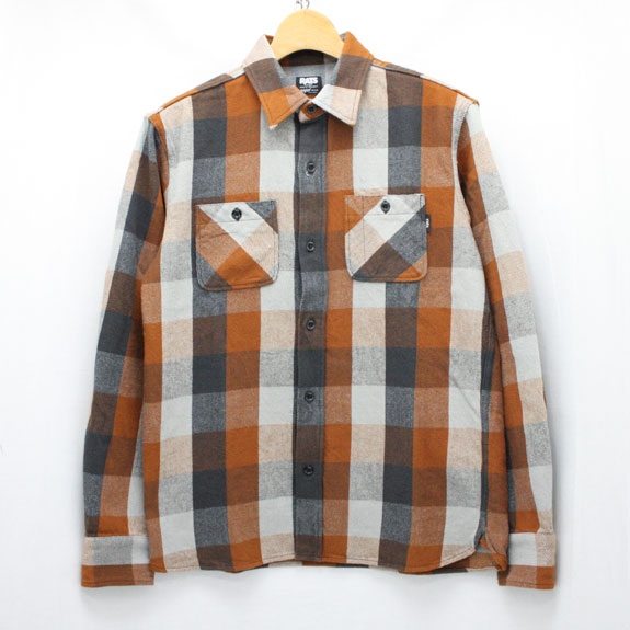 RATS COTTON FLANNEL BLOCK CHECK SHIRTS BROWN