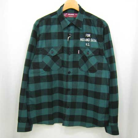 HIDE&SEEK Buffalo Check L/S Shirt (13sa):GREEN