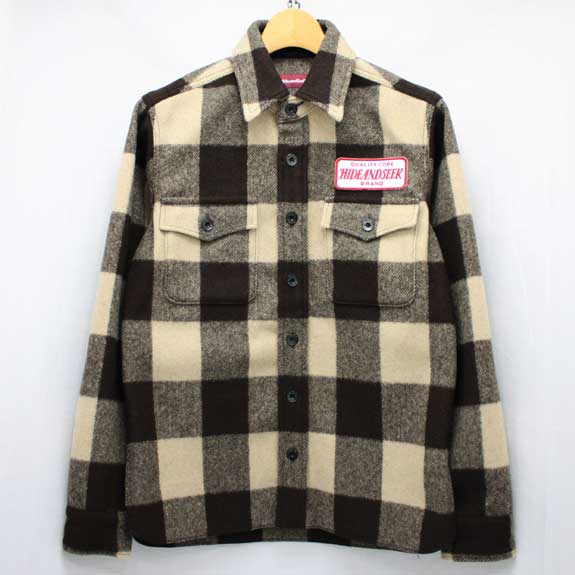 HIDE&SEEK Check CPO Shirt:BROWN