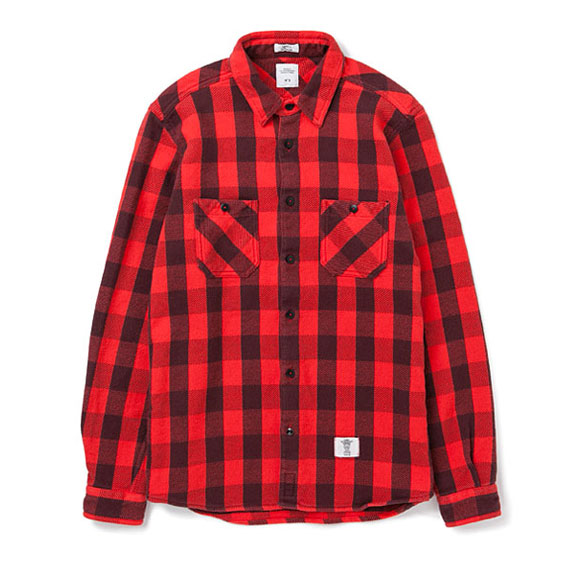 BEDWIN L/S OG FLANNEL BLOCK CHECK WORK SHIRTS BOB:RED