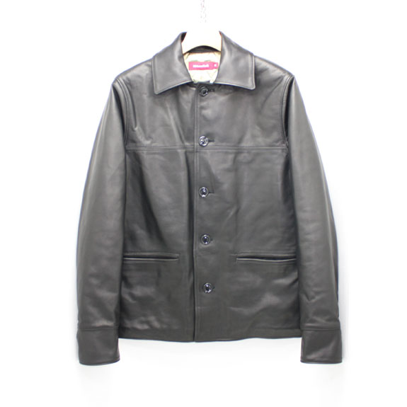 HIDE&SEEK HS Leather Car Coat (14aw):BLACK