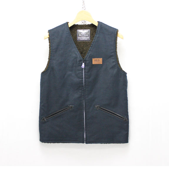 HIDE&SEEK Fatigue VEST (14aw):NAVY