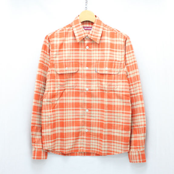 HIDE&SEEK ChecK L/S Shirt (14aw):WHITE×RED