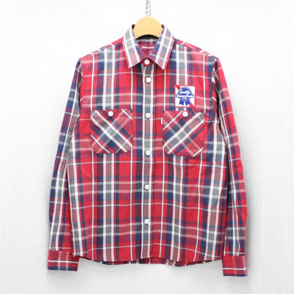 HIDE&SEEK Check L/S Shirt (15ss):RED
