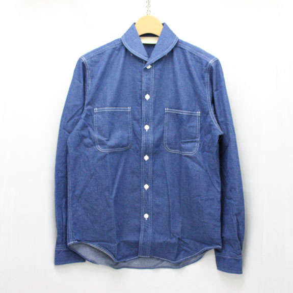 THE STYLIST JAPAN SHAWL COLLAR DENIM SHIRTS:LIGHT INDIGO