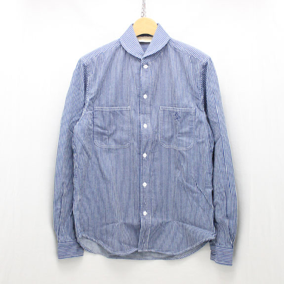 THE STYLIST JAPAN SHAWL COLLAR DENIM SHIRTS (STRIPE):INDIGO×WHITE