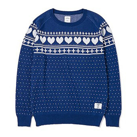 BEDWIN C-NECK JACQUARD SWEATER MACLISE:BLUE