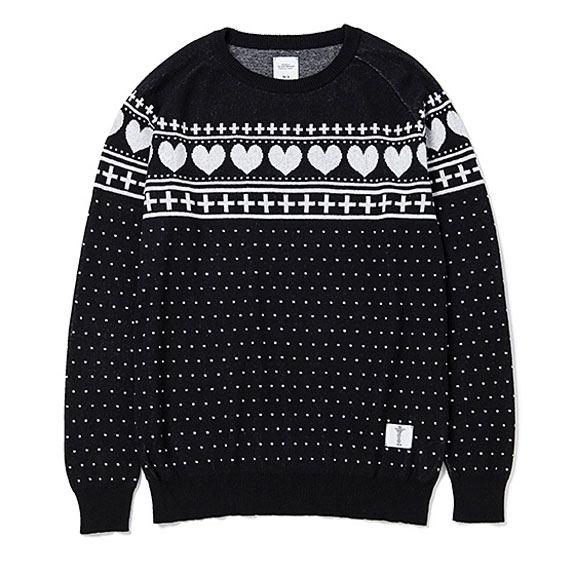 BEDWIN C-NECK JACQUARD SWEATER MACLISE:BLACK