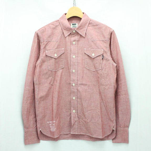 RATS CHAMBRAY WESTERN SHIRTS:RED