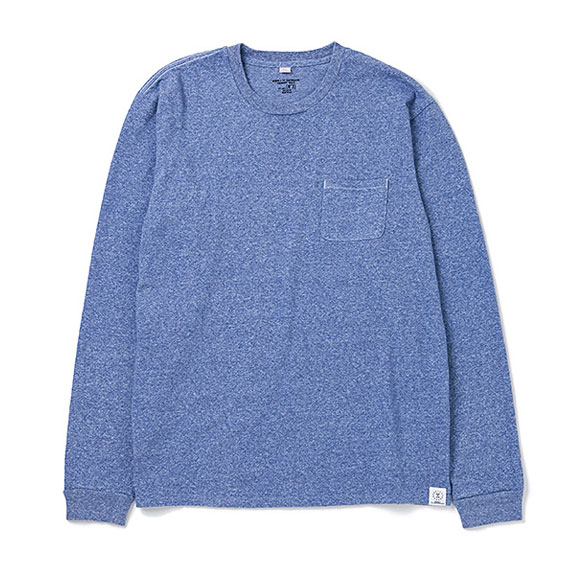 BEDWIN L/S C-NECK POCKET T JACK:BLUE