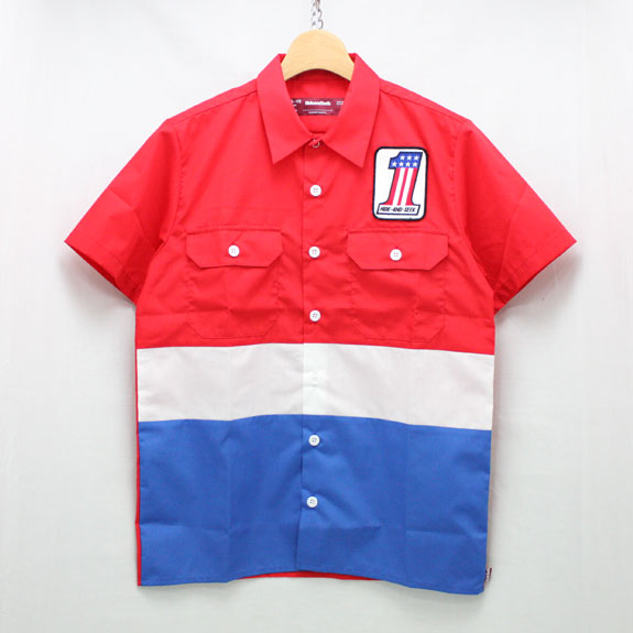 HIDE&SEEK Work S/S Shirt (#1):RED×BLUE