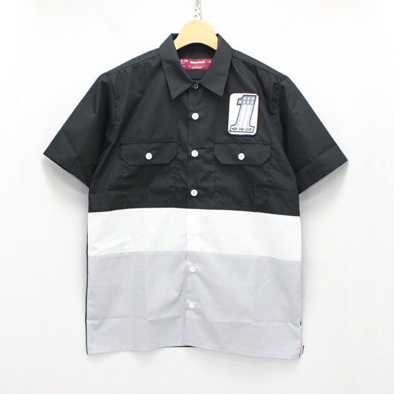 HIDE&SEEK Work S/S Shirt (#1):BLACK×GRAY