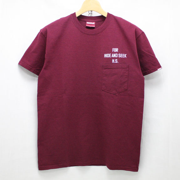 HIDE&SEEK PA FU CITY Pocket S/S Tee:BURGUNDY