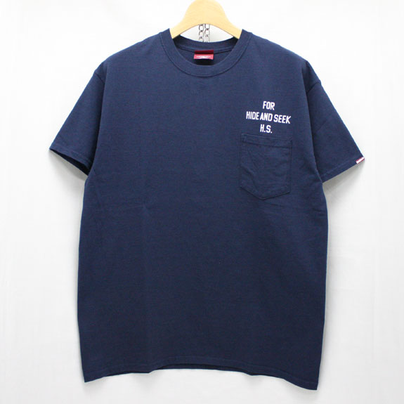 HIDE&SEEK PA FU CITY Pocket S/S Tee:NAVY