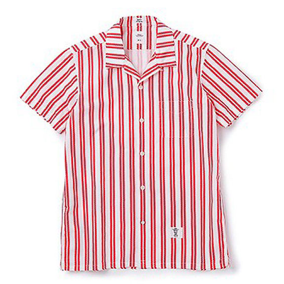 BEDWIN S/S OPEN COLLAR OG CHEVLON SHIRT ROGERS:RED