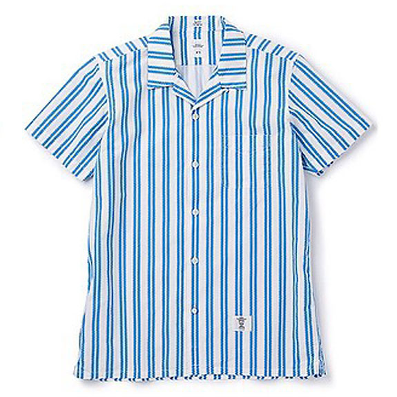 BEDWIN S/S OPEN COLLAR OG CHEVLON SHIRT ROGERS:BLUE