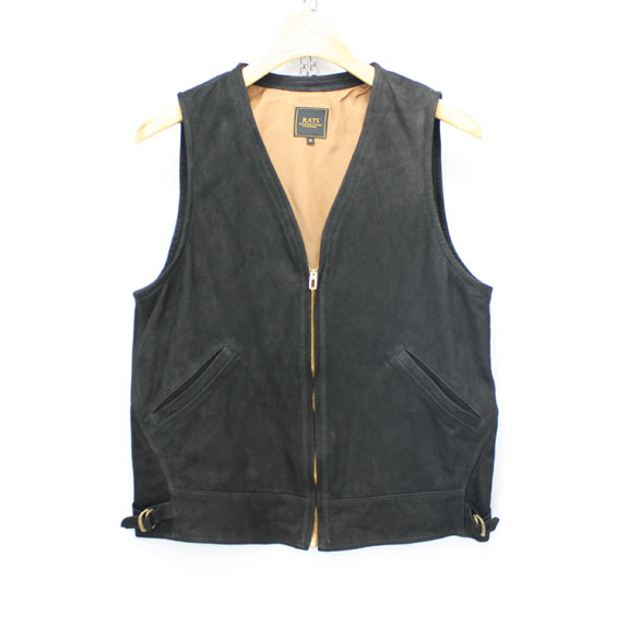 RATS OIL NUBUCK 30'S LEATHER VEST:DARK BROWN