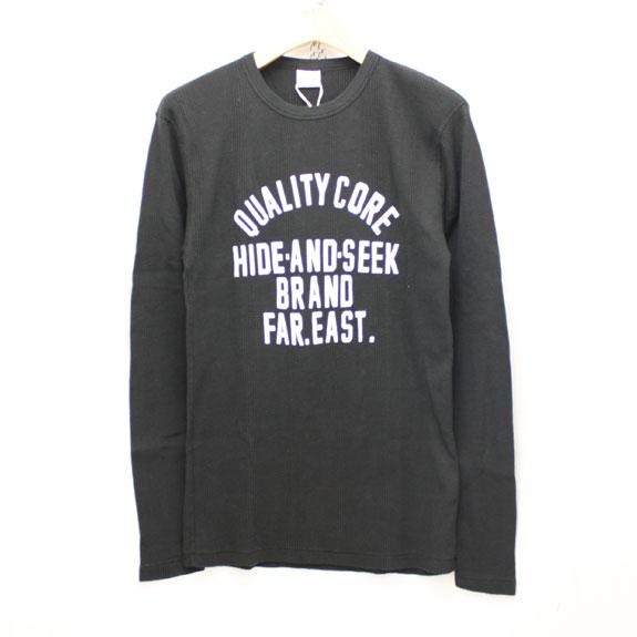 HIDE&SEEK Waffle L/S Shirt (Healthknit 15aw) BLACK