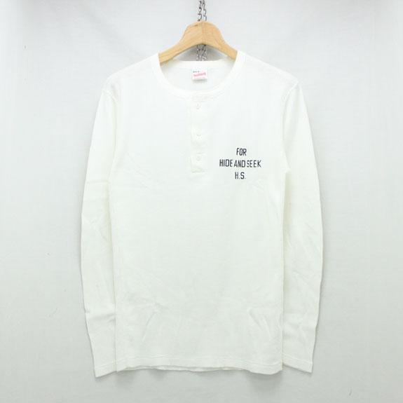 HIDE&SEEK Henlyneck L/S Shirt (Healthknit 15aw) OFF WHITE
