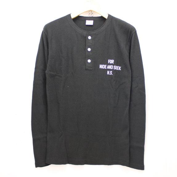 HIDE&SEEK Henlyneck L/S Shirt (Healthknit 15aw) BLACK