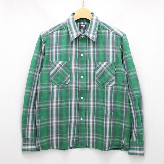 RATS COTTON CHECK FLANNEL SHIRT:GREEN CHECK