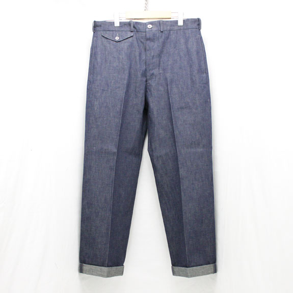 BELAFONTE RAGTIME DENIM TROUSERS with CINCH BACK:10.5oz INDIGO DENIM
