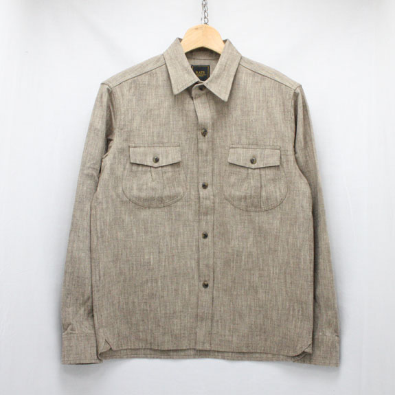 RATS BELLOWED POCKET WORK SHIRT:BEIGE