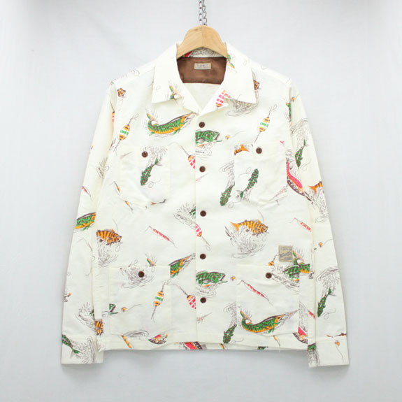 BELAFONTE MY RAGTIME FISHING SHIRT:OFF WHITE FISHING PATTERN