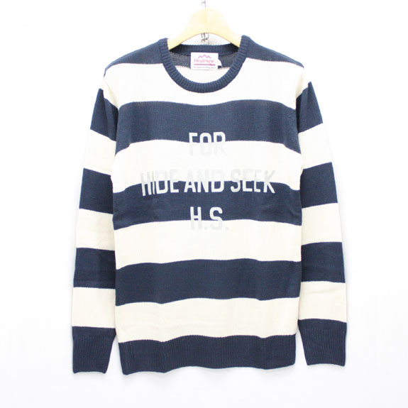 HIDE&SEEK For H.S. Knit L/S (Healthknit):NAVY×OFF-WHITE(BORDER)