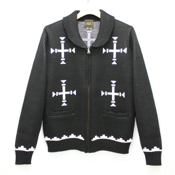 RATS NAVAJO SHAWL COLLAR KNIT:BLACK×WHITE