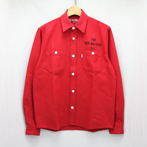 HIDE&SEEK Heavy Twill L/S Shirt:RED