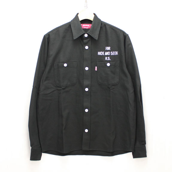 HIDE&SEEK Heavy Twill L/S Shirt:BLACK