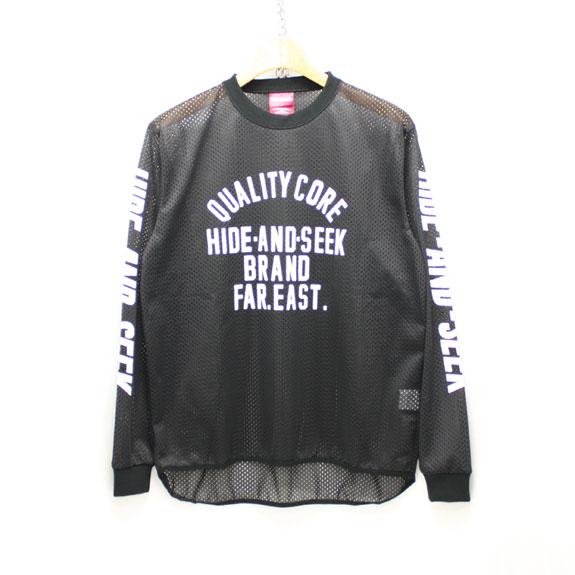 HIDE&SEEK Mesh L/S Shirt:BLACK