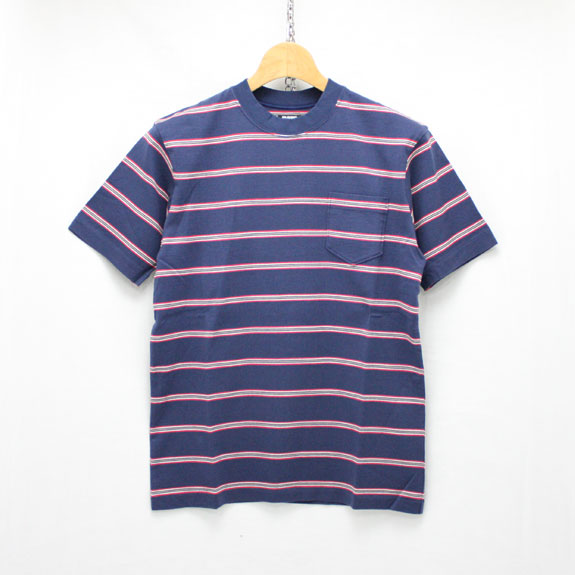 RATS MULTI BORDER POCKET T-SHIRT: NAVY