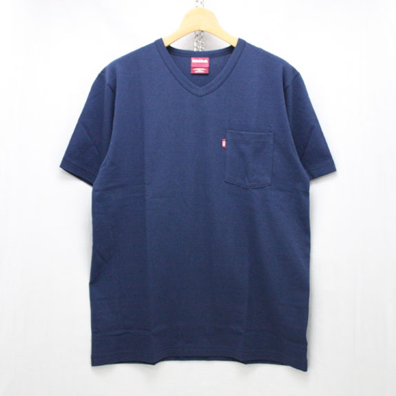 HIDE&SEEK Pocket V-Neck S/S Tee (16ss):NAVY