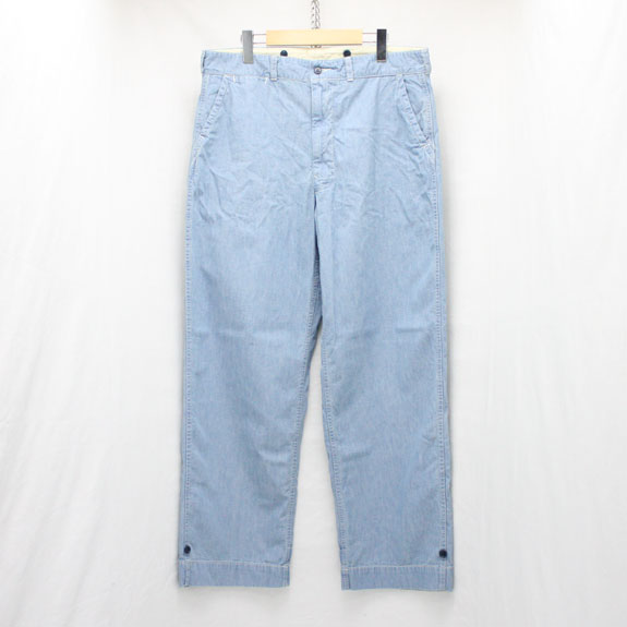 BELAFONTE RAGTIME FATIGUE TROUSERS (AGED CHAMBRAY):8oz WASHED BLUE CHAMBRAY