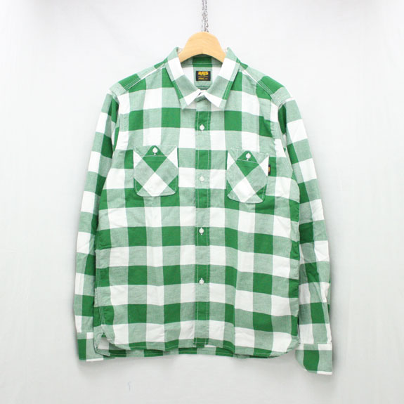RATS BUFFALO CHECK TRIPLE STITCH SHIRT:GREEN