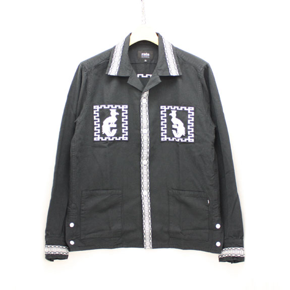 RATS EMBROIDERY SHIRT JKT:BLACK