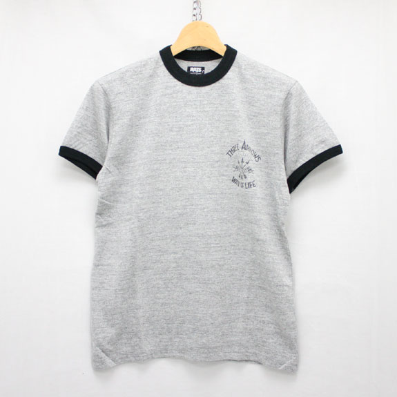 RATS THREE ARROWS RINGER T-SHIRT:TOP GRAY