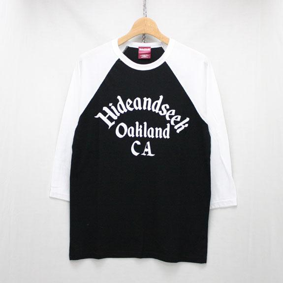 HIDE&SEEK Oakland CA Raglan Baseball Shirt:BLACK×WHITE